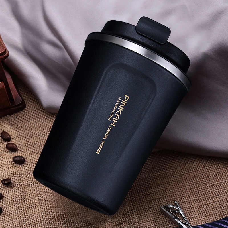 حار بيع 380 و 500 مللي 304 الفولاذ المقاوم للصدأ كوب حراري كوب (مج) للقهوة في السفر مع غطاء سيارة المياه زجاجة فراغ قوارير Thermocup ل هدية