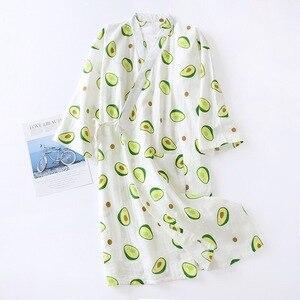 Image 3 - Frische Und Natur Frauen Nachthemd Avocado Gedruckt Sommer Komfort Gaze Baumwolle Nachtwäsche Kimono Bademantel Lose Dünne Weibliche Homewea