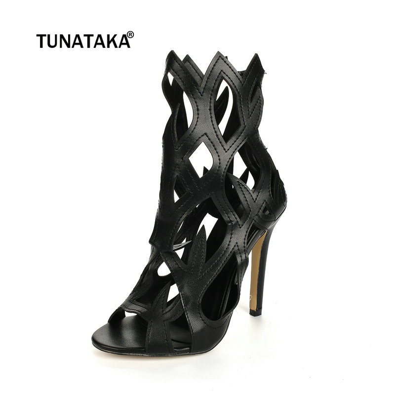 Women Leather Sexy Thin High Heel Gladiator Sandals Fashion Buckle Party Summer Shoes Black White Red fashion sexy women summer sandals gladiator black red solid sandals buckle strap nubuck leather thick heel sandals us size 5 9