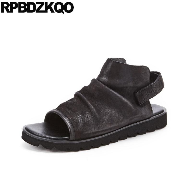 Respirável Verão Luxo Casual Alça De Italiano Legítimo Preto Sapatos Sandálias Grife Homens Couro Chuteiras 2018 Praia Qualidade Alta w18Xq8d