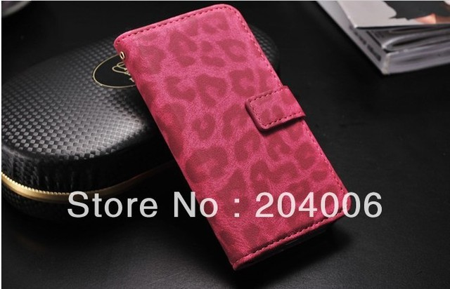 Leopard PU leather case for Iphone 4g 4s wallet pouch with card holder for iphone 4S DHLFree Shipping
