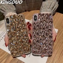 XINGDUO phone case 6 color Luxury Big bling stones for iphone 5 5s 6s 7 8 7plus X XS XR 3D Glitter Crystal Diamonds shell