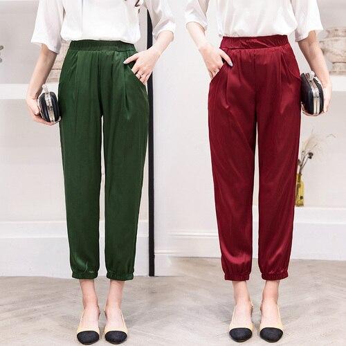 Nature Silk Harem Pants Women 2019 Summer Korean Work White Pants Elastic Waist Pants Solid Silk Real Silk Trousers