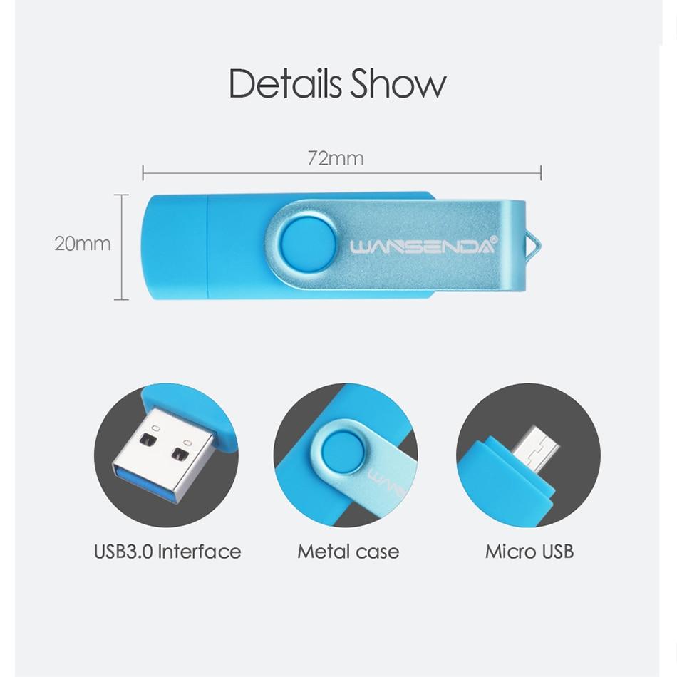 WANSENDA OTG USB 3 0 USB Flash drives Pen Drive for Android system 8GB 16GB 32GB 64GB 128GB External Storage 2 in 1 Pendrive in USB Flash Drives from Computer Office