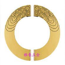 Carved pattern half round door handle Chinese antique wooden door handle modern glass door luxury door handle
