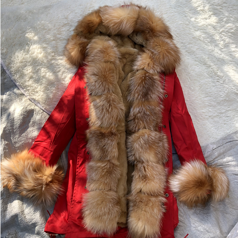 Fandy Lokar Real Fur Parka Women Winter Jackets Real Raccoon Fur Hood Coats Rex Rabbit Fur Lining Jacket Female Clearing Out(China)
