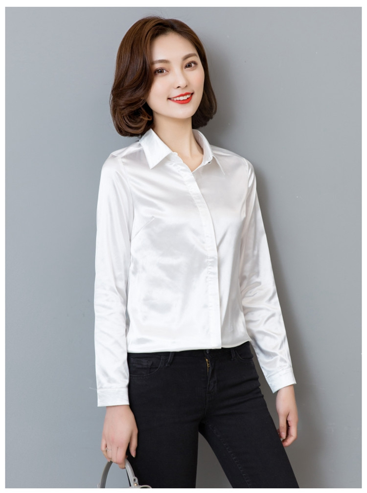 95 tingyili Spring Blouse White Sleeve Satin Us11 Champagne Red In Autumn Black 28Off Shirts Women Blue Long Office Ladies Elegant Shirt YWED9I2eH