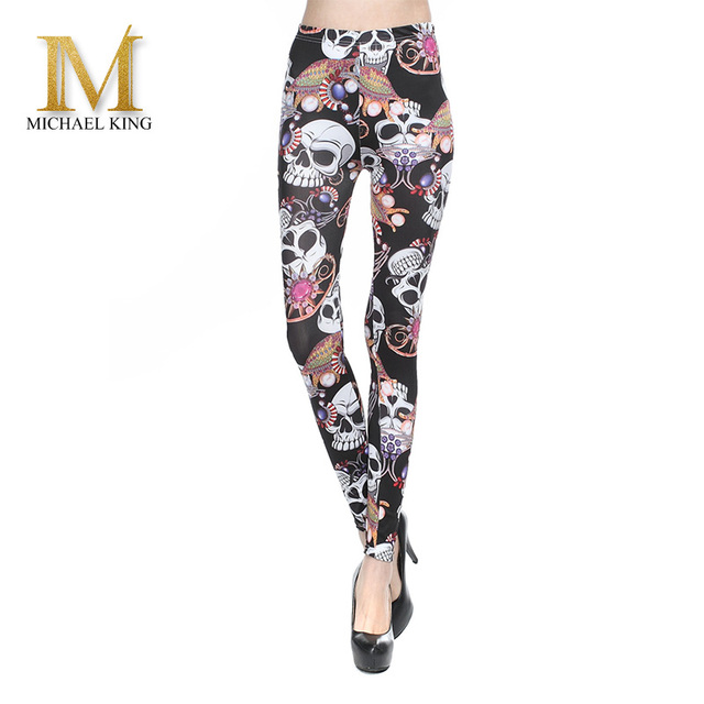 High Quality Women Leggings Milk Silk   Printed skull Leggings Elastic Waisted Soft Leggins Sexy Quick Dry Women fitness Pants