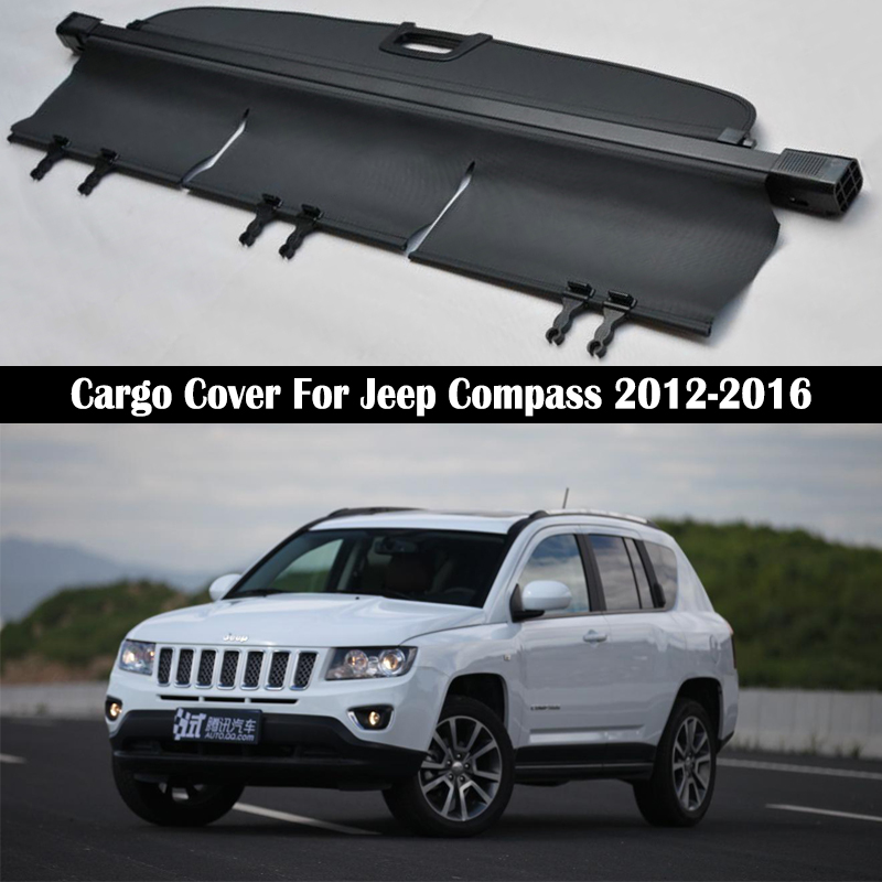 Rear Cargo Cover For Jeep Compass 2012 2013 2014 2015 2016 privacy Trunk Screen Security Shield shade Auto Accessories