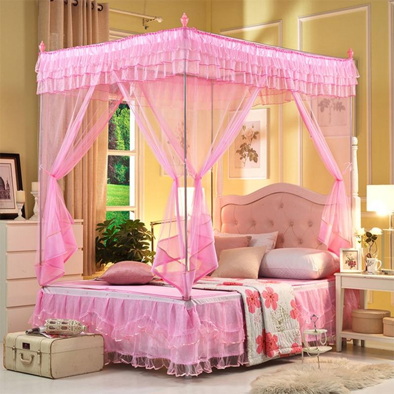 Fesselnd [Byetee] Süße Prinzessin Spitze Moskito Net Drei Tür Bett Baldachin Mit  Edelstahl Moskito Net Erwachsene Baldachin Betten Netting Anzug