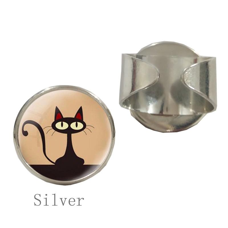 SUTEYI Vintage charm pencil art Round glass Ring retro wild animal glass dome cat Rings men women jewelry Dress Accessories