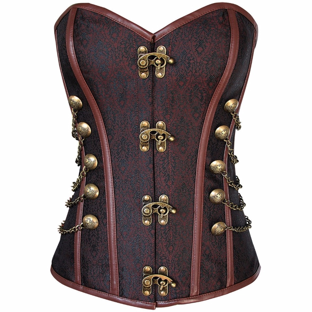 NEFUTRY Gothic Corset Steampunk Waist Control Corset Corset Top Overbust Bustier With Chain Gothic Bustier Slim Corselet
