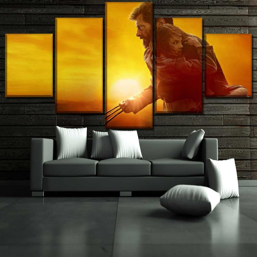 5 Pieces Sunset Landscape Movies Logan Poster Modern Wall Art Decorative Modular Framework Picture Canvas Print One Set Painting