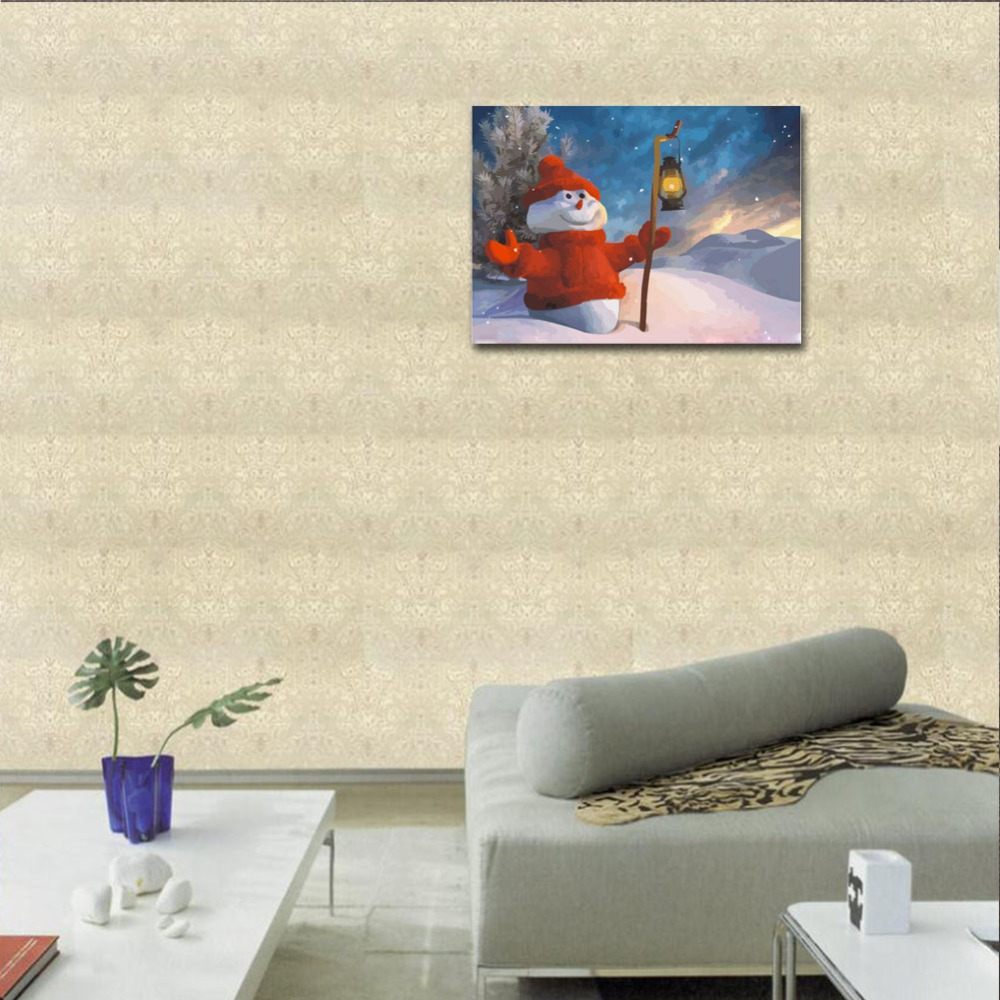 RIHE Snowman Diy Painting By Numbers Christmas Oil Painting On Canvas Winter Hand Painted Cuadros Decoracion Acrylic Paint Art in Painting Calligraphy from Home Garden