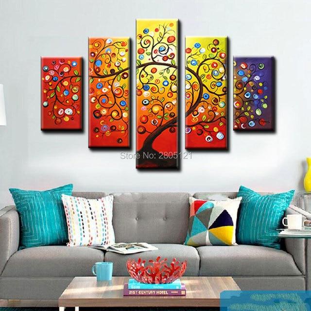 Tangan Dicat Hidup Pohon Desain Musim Gugur Pohon Kanvas Lukisan