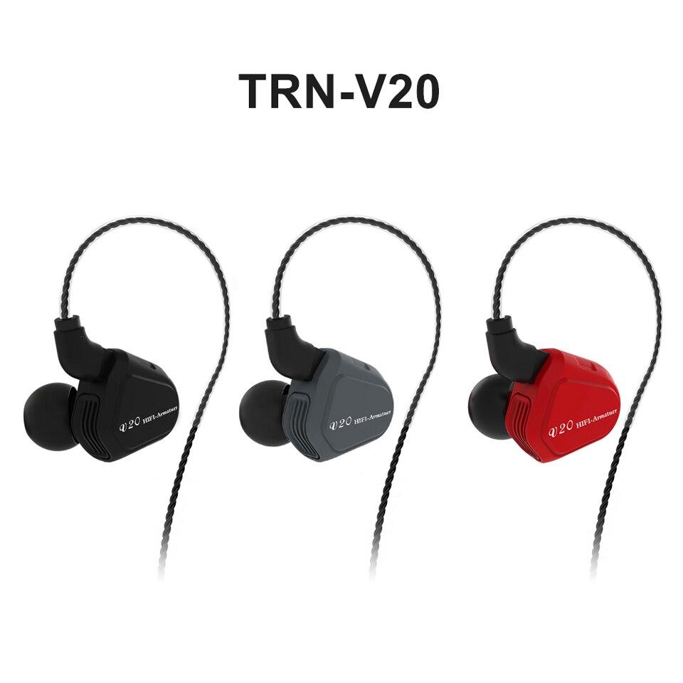 Новые TRN V20 1DD + 1BA Гибридный в ухо наушники HIFI DJ Monito кроссовки спортивные наушники ушной гарнитуры с 2PIN съемная