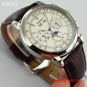 """Image 5 - Debert 42 מ""""מ חיוג לבן מקרה פלדת ירח שלב אוטומטי גברים שעונים לE2481"""