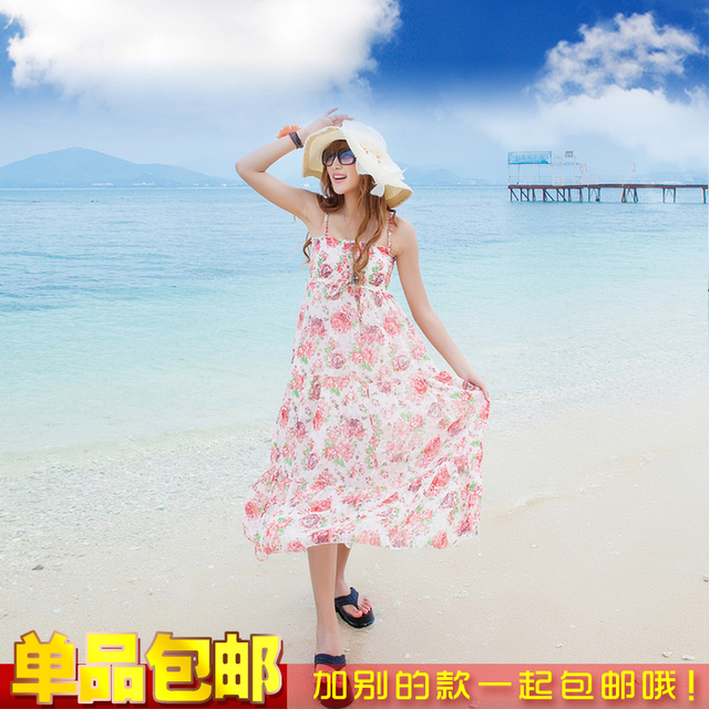 Formal spaghetti strap mid waist princess dress one-piece dress