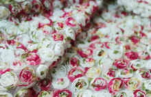 LaceTime Shabby Chic Rosette Lace Fabric Chiffon Spring