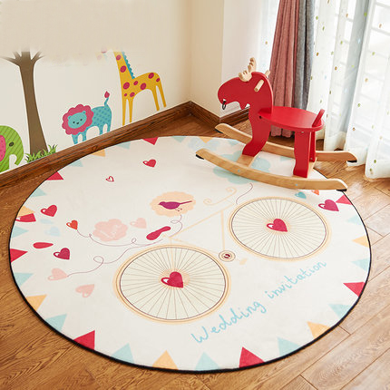 CARTOON mat 5 Designs Cartoon Bedroom Decorative Round Floor Mat