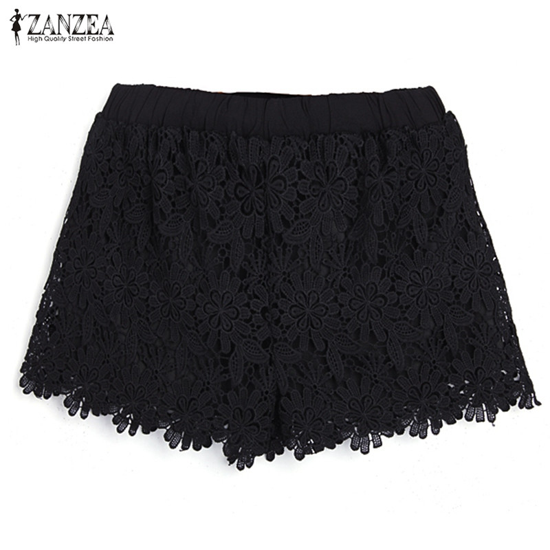 ZANZEA Korean Style 2019 Sexy Womens Summer Casual Sweet Cute   Short   Pants Plus Size Elastic Waist Lace   Shorts   Black White