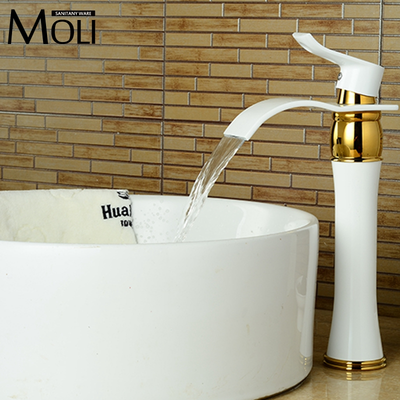 ФОТО Free shipping high quality white paint basin faucet bending spout waterfall tall tap single handle single hole mixer