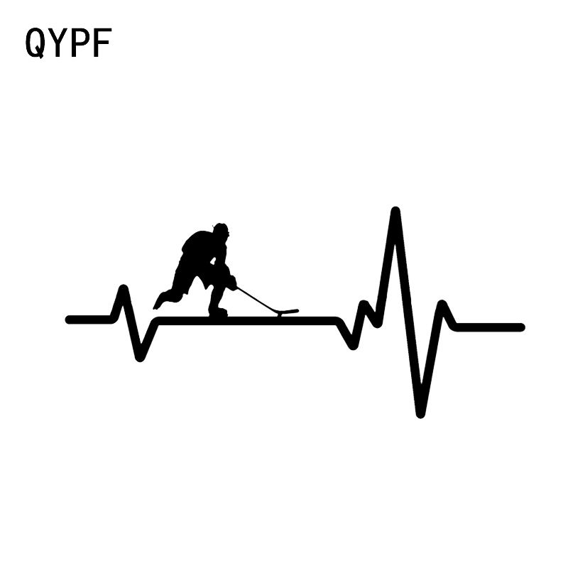 QYPF 14.6*6.8CM Interesting Heart Beat Line Hockey Car Stickers Vinyl Decor High Quality Silhouette C16-0556