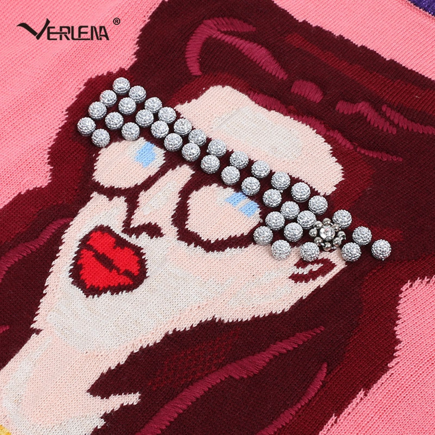 Argent Manches Motif Rose Cou Reine Pull Verlena Femmes Longues Chandails Dominateur Ras Chandail Du 2018 Perles Lèvres À Rouge HZ4qT