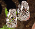 Free Shipping 1pair Silver Womens Beautiful Cute Hollow Flowers hoop earrings