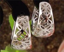 Free Shipping 1pair Silver Womens Beautiful Cute Hollow Flowers hoop earrings