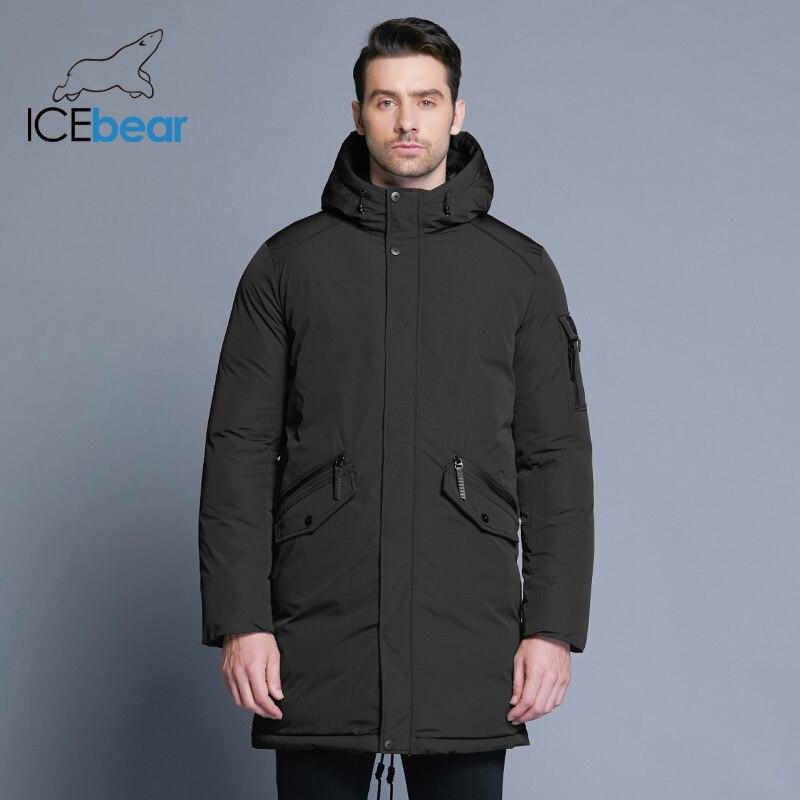 ICEbear 2018 Новинка высококачественная куртка мужская зимняя простая модная куртка с большим карманом теплая мужская куртка с капюшоном MWD18718D