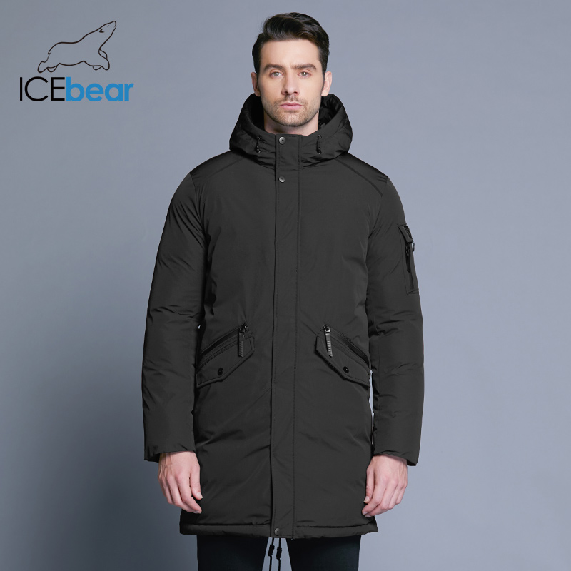 Icebear 2018 New Excessive High quality Winter Coat Easy Style Coat Large Pocket Design Males's Heat Hooded Model Style Parkas Mwd18718D
