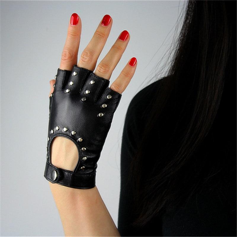 Genuine Leather Pure Sheepskin Black Women Semi-Finger Fingerless Gloves Female Fashion Hip-Hop Rivets Dance Mittens TB18