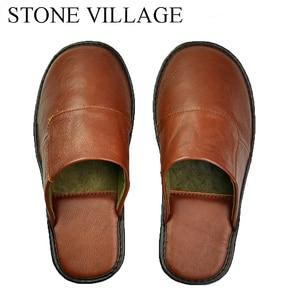 Image 3 - Steen Dorp Plus Size 36 45 Hoge Kwaliteit Echt Leer Thuis Slippers Zomer En Najaar Koele Vrouwen Slippers 6 Kleuren