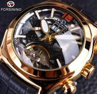 Forsining Convex Glass Stylish Tourbillion 3D Designer Genuine Leather Strap Mens Watches Top Brand Luxury Automatic