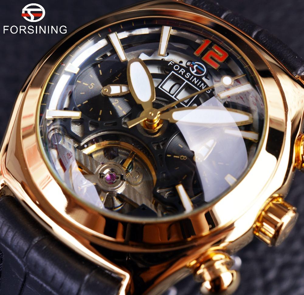 Prix pour Forsining Convexe En Verre Élégant Tourbillon 3D Designer Véritable Bracelet En Cuir Hommes Montres Top Marque De Luxe Montre Automatique Horloge