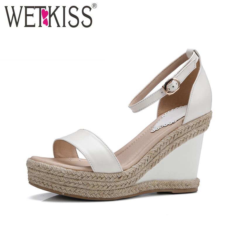 ФОТО WETKISS 2017 Hot Straw Weave Wedges Women Sandals Genuine Leather Platform Summer Shoes High Ankle Strap Open toe Sandals Women