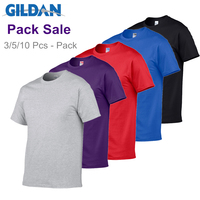Gildan Brand Pack Sale Men's Summer 100% Cotton T-Shirt Men Casual Short Sleeve O-Neck T Shirt Comfortable Solid Color Tops Tees