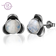 Elegant Round Natural Moonstone Stud Earrings 925 Sterling Silver Jewelry For Women Wedding Engagement Party Anniversary real 925 stud earrings 7mm round cubic zirconia jewelry wedding engagement jewellery elegant sterling silver earring for women
