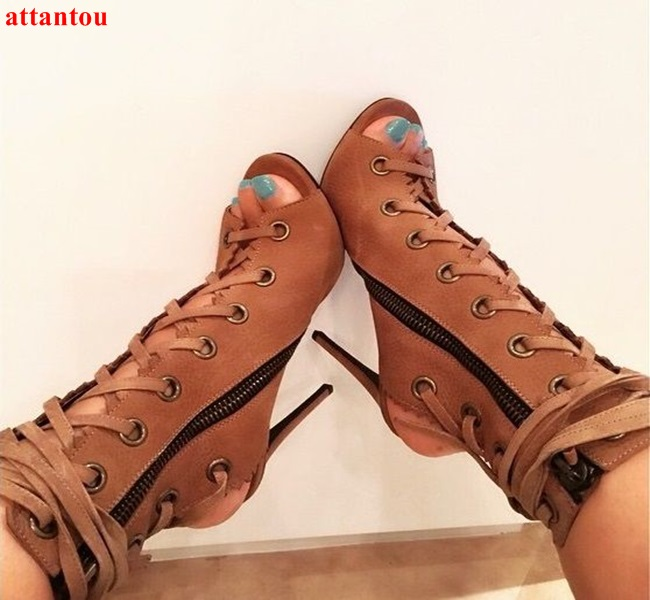 Summer fashion cross-tied women short sandal boots lace up peep toe female booties thin heel ankle straped sexy sandal