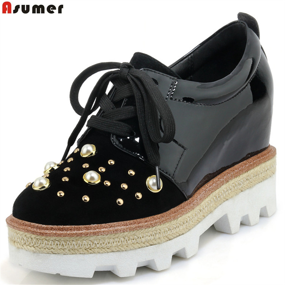 ASUMER fashion spring autumn ladies shoes square toe lace up platform increased internal women genuine leather high heels shoes asumer white spring autumn women shoes round toe ladies genuine leather flats shoes casual sneakers single shoes