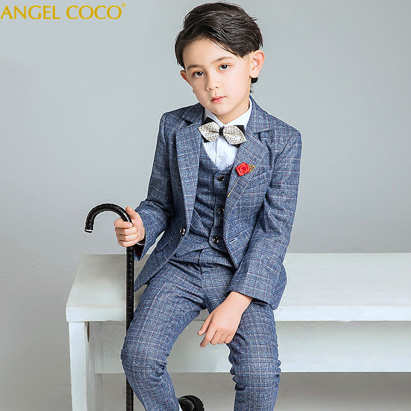 Fashion Gray/Blue Boys Suit Kids Blazers Boy Suit For Weddings Prom Formal Spring Autumn Wedding Dress Boy Suits Terno Infantil kids blazers jackets blue patchwork clothing set for baby clothes boys wedding dress children lounge suit terno infantil blazers