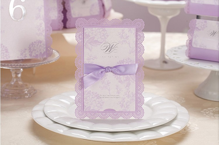 Wedding Invitations With Purple Ribbon: High Quality Wedding Invitation Cards Lavender / Purple