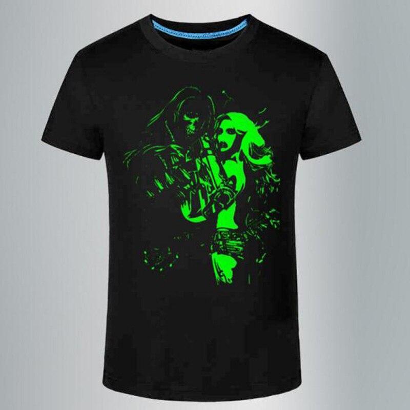 여름 티셔츠 남성 레저 형광 맞춤형 반팔 티셔츠 여름 탑스 남성 T 셔츠 그린 라이트 옷