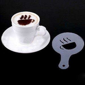 Image 3 - 16 pçs/set Spray de Espuma de Café Cappuccino Café Latte Art Café Stencils Barista Stencils Template Ferramenta Decorativa Guirlanda Molde