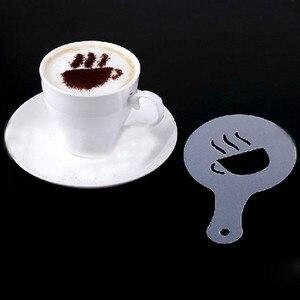 Image 3 - 16 개/대 커피 라떼 카푸치노 커피 아트 스텐실 카페 폼 스프레이 템플릿 바리 스타 스텐실 장식 도구 화환 금형
