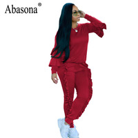 Abasona Rompers Womens Jumpsuit Autumn Long Sleeve Ruffles Overalls Casual Sportsuits Two Piece Set Party Club