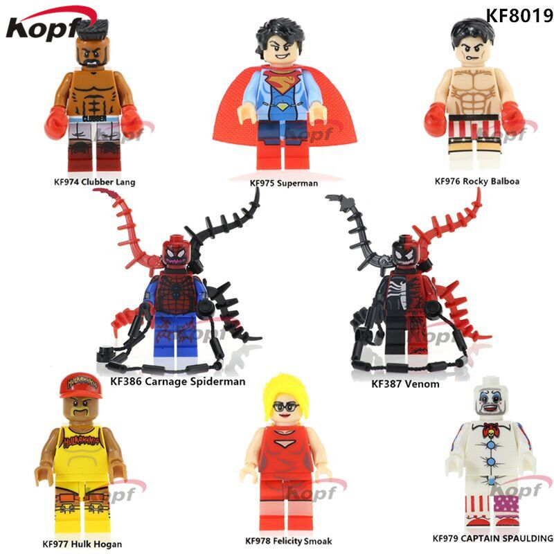 KF8019 The Wold's Photos of Boxing Rocky Balboa Venom Carnage Spiderman Clubber Lang Building Blocks Bricks Children Gift Toys single sale building blocks super heroes hulk hogan clubber lang carnage spiderman bricks christmas toys for children gift kf977