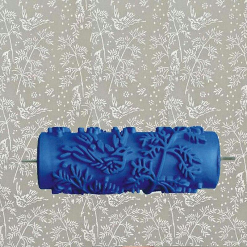 5 pouces bleu rouleau en caoutchouc décoration murale peinture rouleau, mural décoratif rouleau de peinture sans poignée, feuilles 002Y
