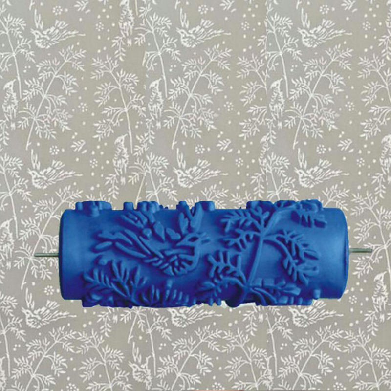 5inch blue rubber roller wall decoration painting roller, decorative wall paint roller without hand grip,leaves 002Y